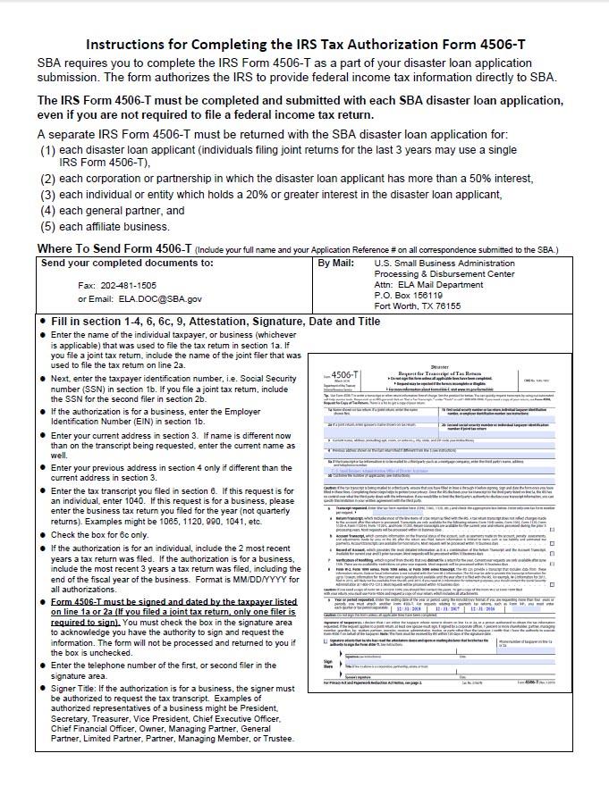 IRS-4506-T-SBA