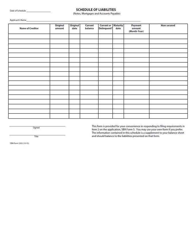 SBA-Form-2202-Schedule-of-Liabilities