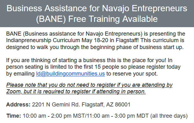Business-Assistance-for-Navajo-Entrepreneurs-BANE-Free-Training-Available